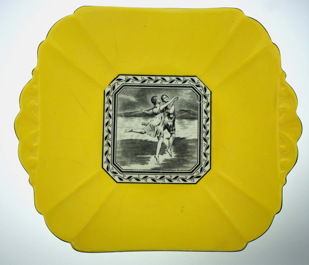 Shelley England Decorative Square Wall Plate Yellow