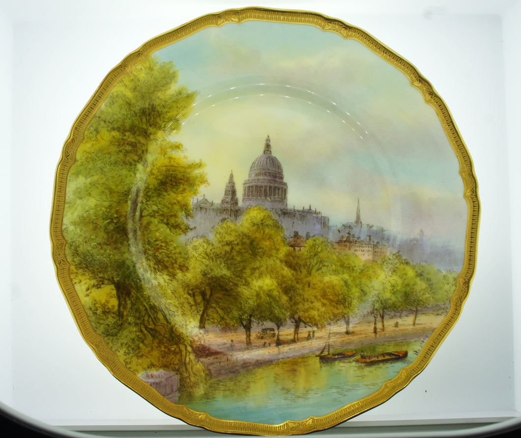 Royal Worcester England Decorative Wall Plate St Pauls From The River