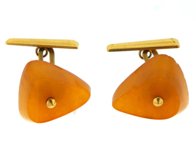 18ct Yellow Gold Amber Triangular Cufflinks