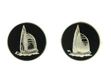 Wedgwood Black Silver Sailing Boat Cufflinks