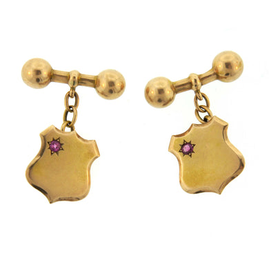 Antique 15ct Gold Ruby Shield Cufflinks
