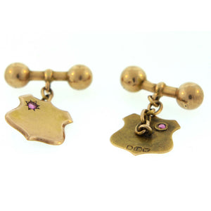 15ct Gold Ruby Sheild Antique Cufflinks