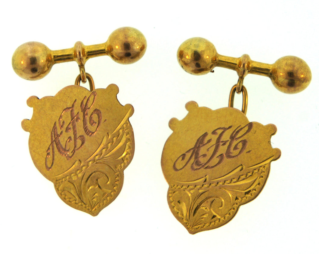 9ct Gold Initialed A.F.E Sheild Engraved Pattern Saunders Cufflink