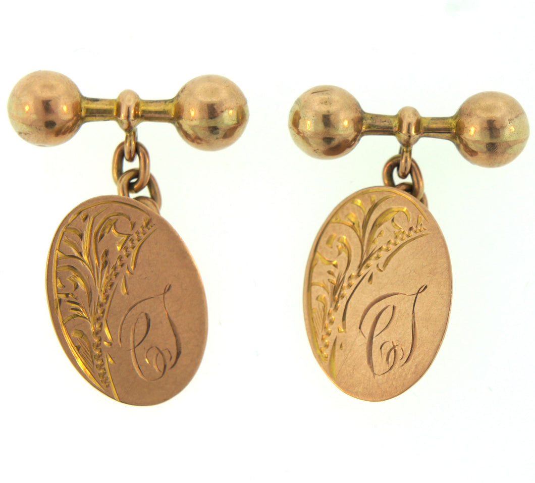 9ct Gold Initialed C.S. Cufflinks Engraved Pattern Saunders