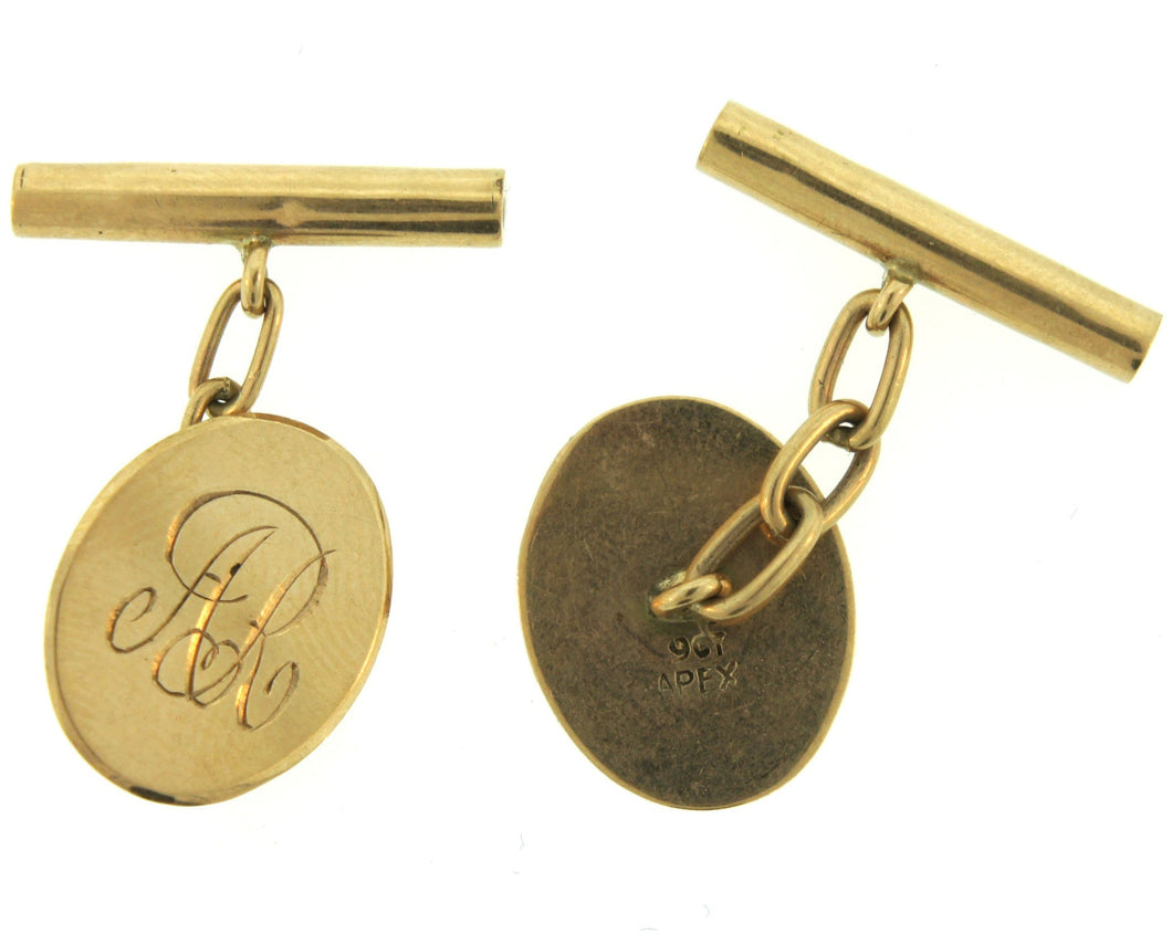 Vintage 9ct Yellow Gold Engraved Oval Cufflinks
