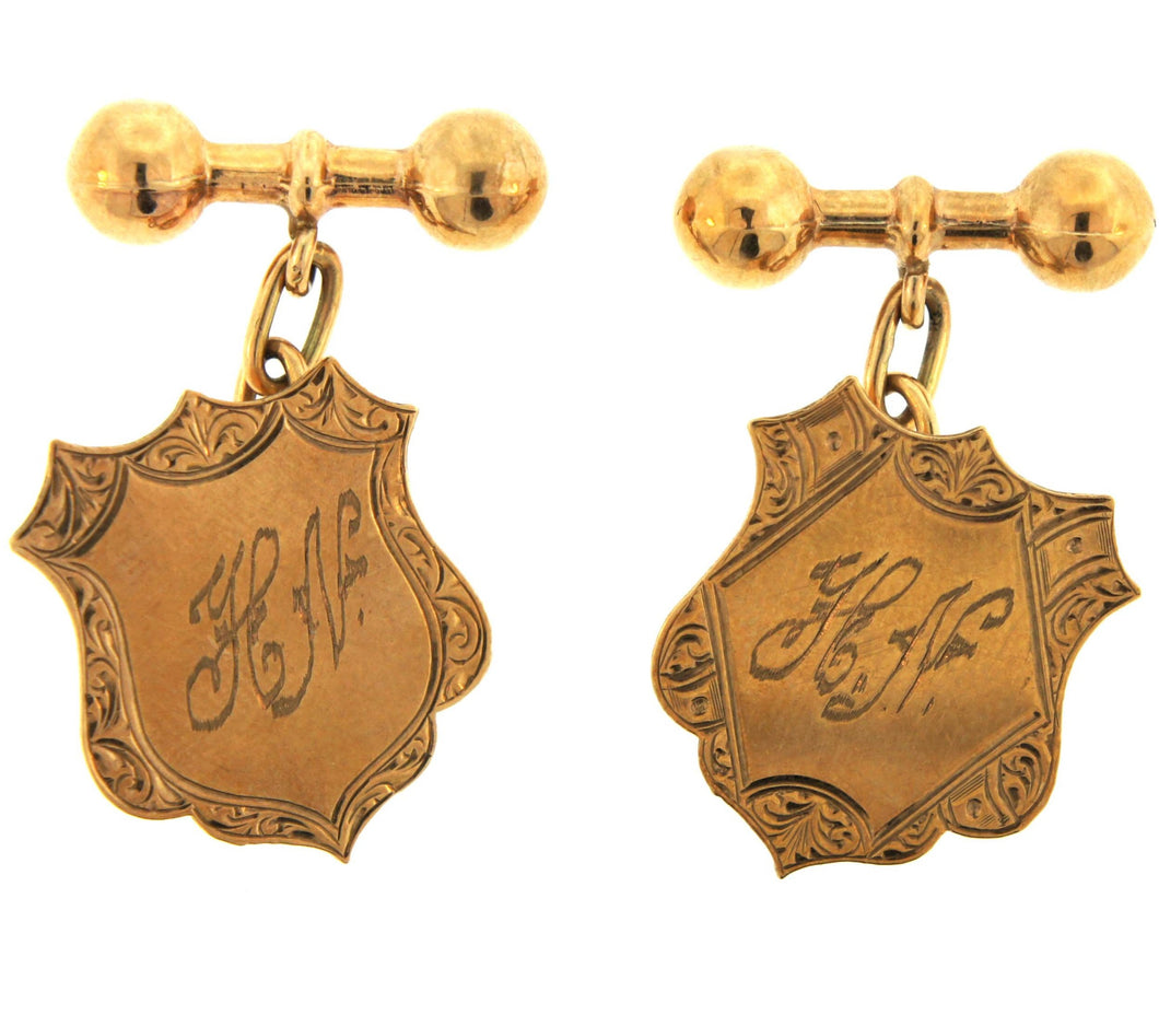 9ct Gold Initialed Sheild H.N. Cufflinks