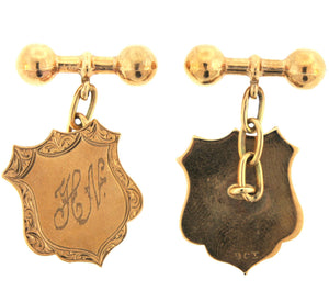 Vintage 9ct Yellow Gold Engraved Shield Cufflinks