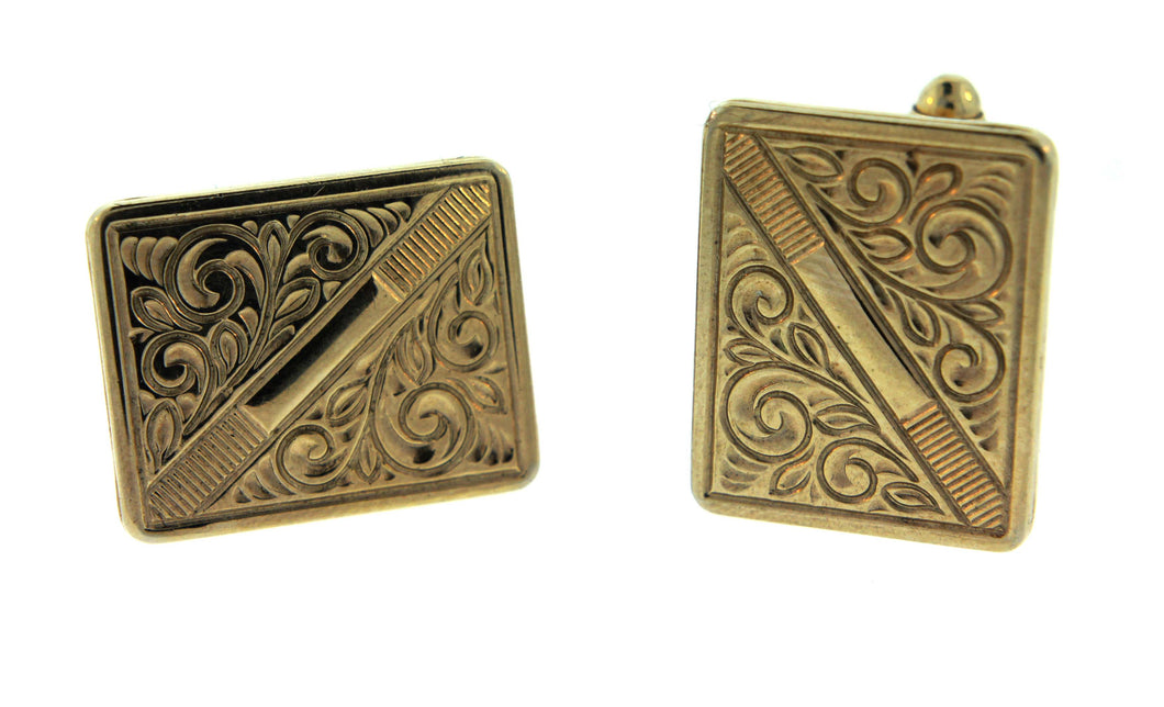 Gold Plate Cufflinks Engraved Pattern Rectangles