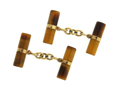 Victorian English 9ct Gold Tiger Eye Cufflinks