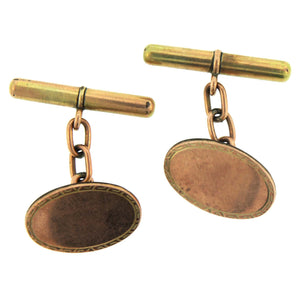 9ct Gold Silver Lined Cobble Sided Cufflinks