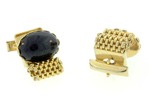 Vintage Blue Sunstone and Goldmesh Costume Cufflinks