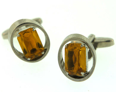 Vintage Costume Cufflinks with Orange Paste