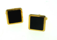 Vintage Black and Gold Square Costume Cufflinks