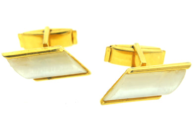 1960's Mother of Pearl and Gold Costume Cufflinks with Horizontal Shape