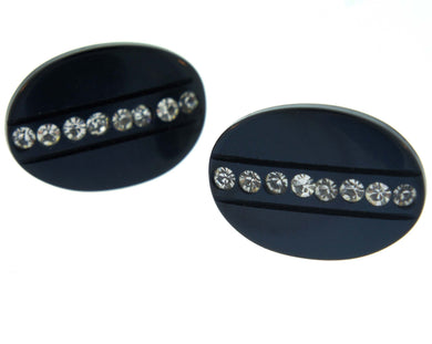 Vintage Navy Oval Cufflinks with Foil Back Crystals