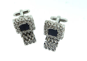 Vintage Dante Silver and Blue Stone Costume Cufflinks