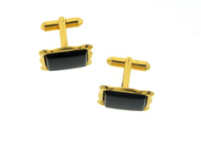 Retro Rectangular Onyx Cufflinks