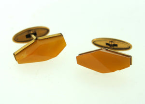 Vintage Diamond Shaped Amber Cufflinks