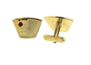 Vintage Gold and Red Crystal Fan Shaped Cufflinks