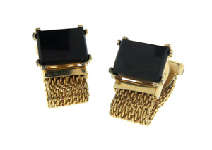 Vintage Mesh and Rectangular Onyx Costume Cufflinks