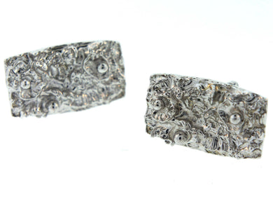 1960's Textured Silver Costume Cufflinks