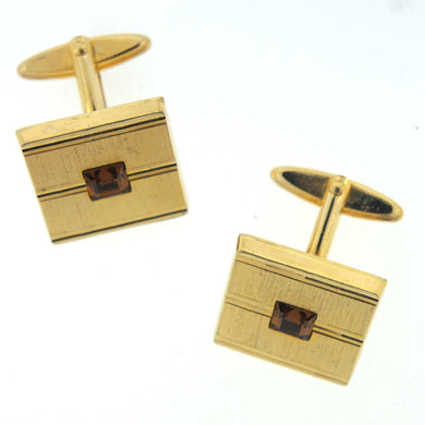 1950's Costume Gold Panel and Brown Paste Cufflinks