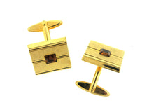 Vintage Costume Gold Panel and Brown Paste Cufflinks