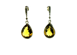 Cognac Citrine Marcasite and Silver Statement Drops
