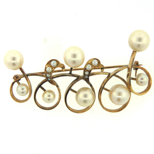 Antique 9ct Gold Curl and Cultured Pearl Brooch