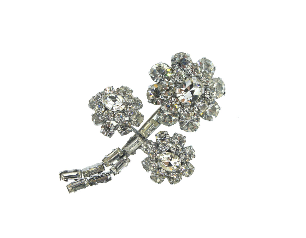 Marigold Flower Crystal Brooch