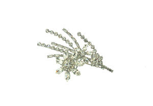 Vintage Flower Spray Crystal Brooch