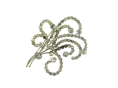 Crystal Bouquet Swirling Pattern Brooch