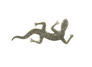Sterling Silver and Marcasite Lizard Brooch