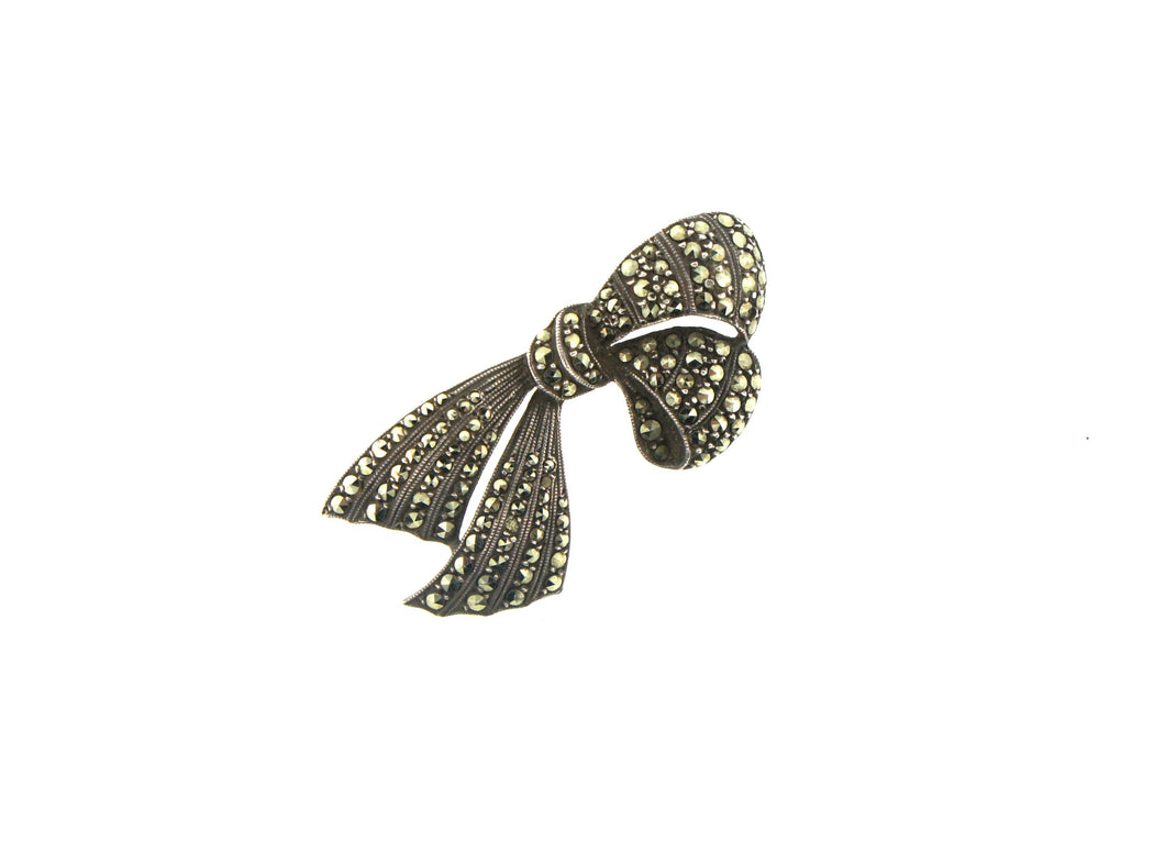 German Sterling Silver and Marcasite Ribbon Brooch