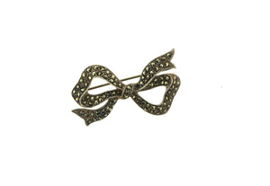 Sterling Silver and Marcasite Bow Brooch