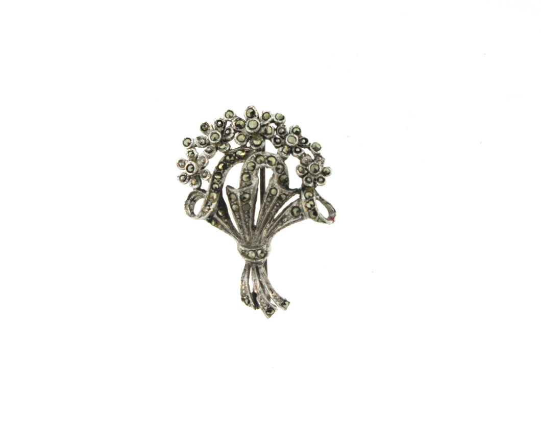 Sterling Silver and Marcasite Bouquet Brooch