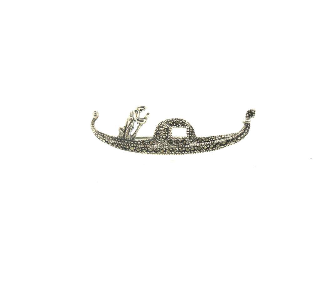 Gondola Brooch Sterling Silver and Marcasite