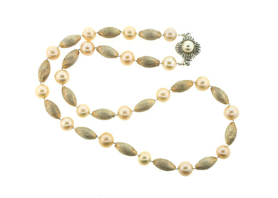 Sterling Silver Bead and Cultured Pearl Necklace