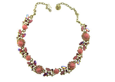 Vintage Christine Lynch Pink Floral Costume Necklace