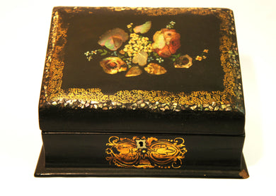 c.1880 Antique Floral Stationary Box