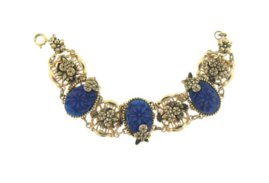 Costume Bracelet Blue Floral Panels