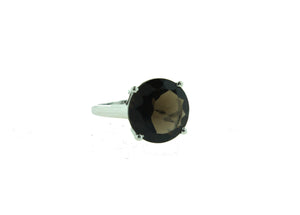Smokey Quartz Sterling Silver Circular Ring
