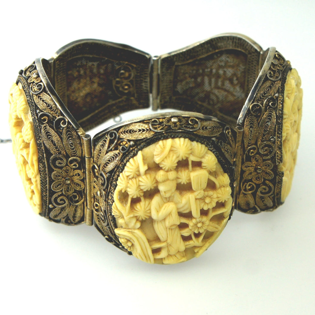 Antique Silver Filigree Carved Ivory Bracelet