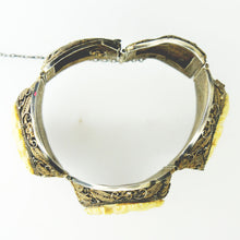 c.1940s Chinese Export Ivory Filigree Silver Bracelet