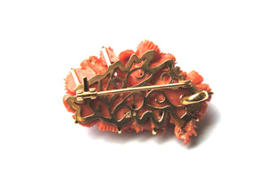 Floral Carved Coral Gold Brooch