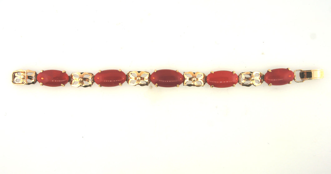 Ox Blood Coral Gold Bracelet