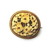 Antique 15ct Yellow Gold Carved Ivory Floral Brooch