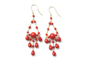 Red Coral Chandelier Earrings 14ct Gold