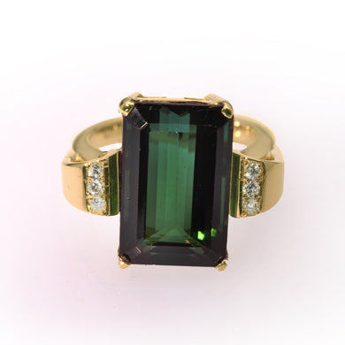 Deep Green 8.35ct  Tourmaline and Diamond Dress Ring