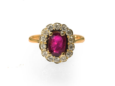 Superb Pigeon Blood Ruby and Diamond Cluster Ring